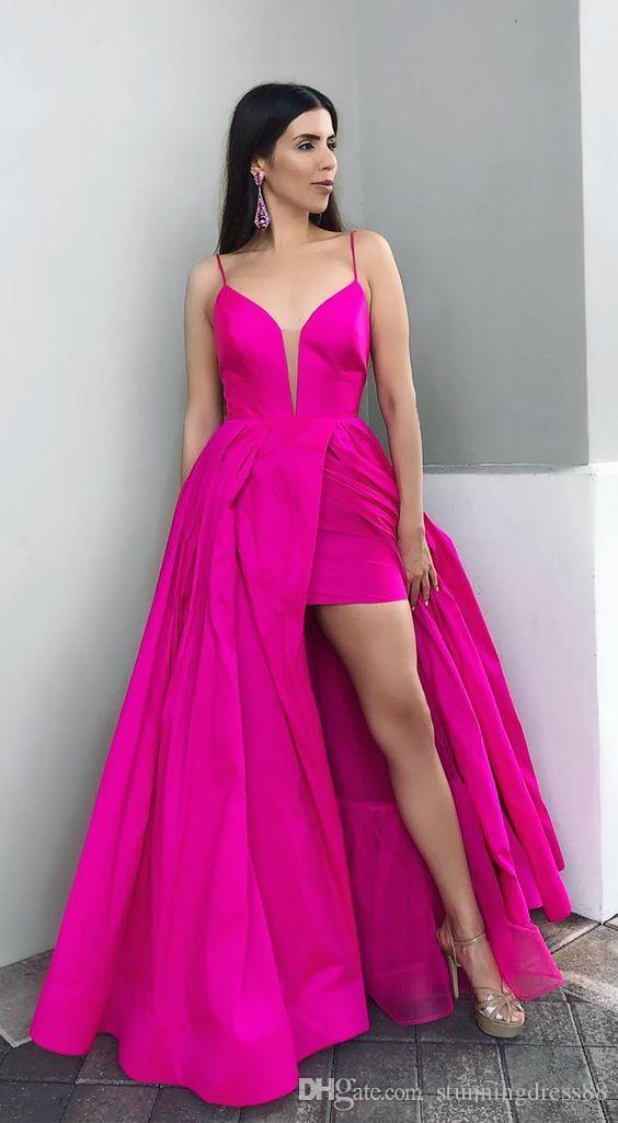 Ярко-розовый Глубокий V-образным вырезом Платья для выпускного вечера Высокий низкий атлас с лямками Спинки Простые дешевые длинные вечерние вечерние платья коктейльные платья