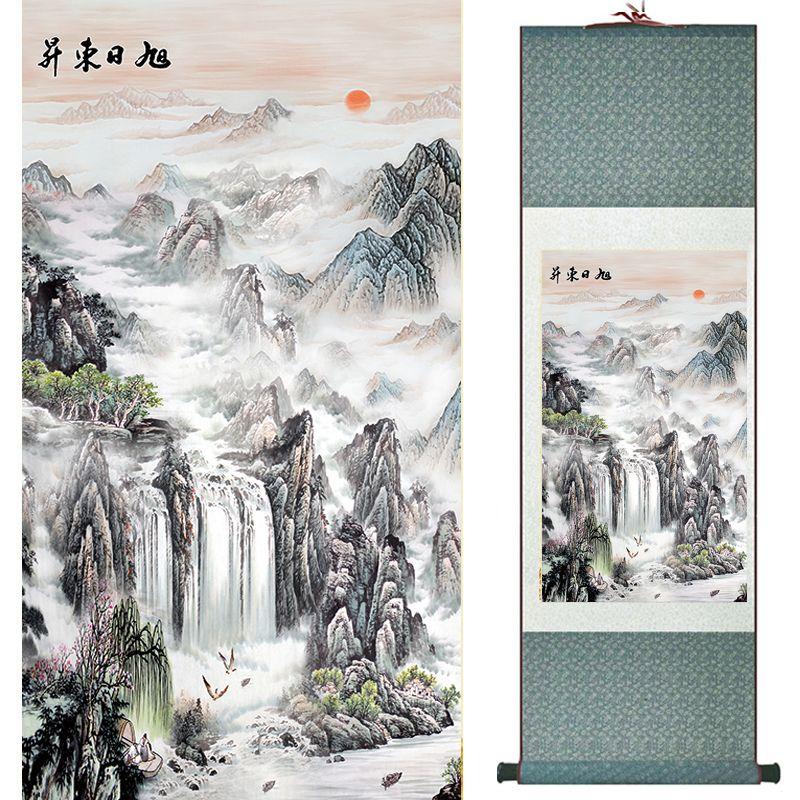 Top qualité grue et grand mur peinture Home Office décoration chinois défilement peinture paysage peinture 040719
