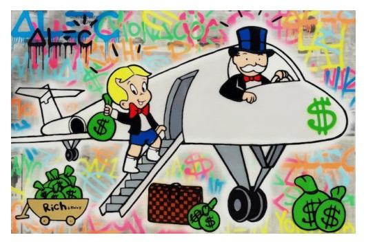 Alec Tekel Handpainted HD Uçak On Tuval Wall Art Home Deco Va Boyama Özet Graffiti Sanat Yağı yazdırın.