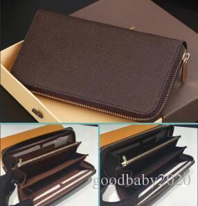 turuncu kahverengi kutu toz torbası kartıyla 60017 ile toptan 6 renkler moda tek fermuar tasarımcısı erkekler kadınlar deri cüzdan bayan bayanlar uzun çanta