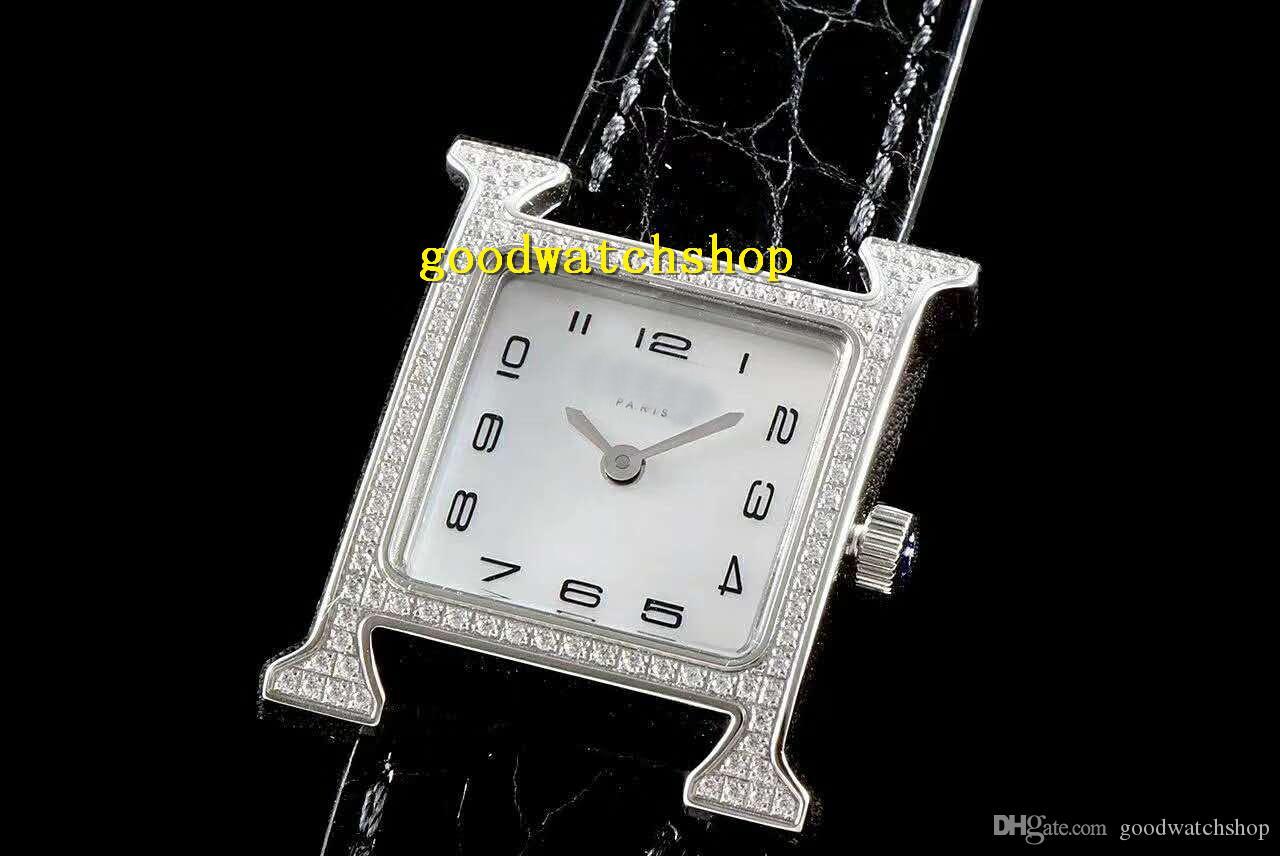 Top H Luxe Montre diamant femme horlogère suisse Quartz Mouvement nacre de perle cadran saphir bracelet en cuir d'alligator