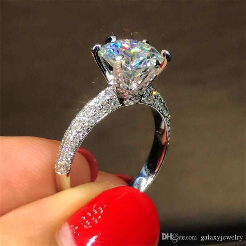 YHAMNI Silver 925 Jewelry Women's Engagement Ring With Certificate Big 8mm Moissanite Ring Bride Wending's Gift Wholesale Size 4-10 R279