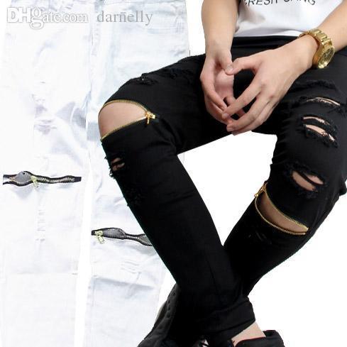 Gros-2016 Hommes Jeans Biker Hiphop design Skinny Jeans pour hommes Mode Jeans Noir Blanc Q6506