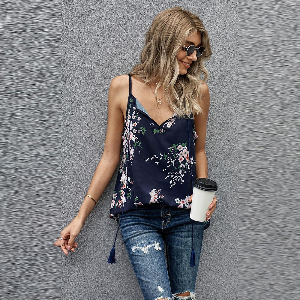 womens concepteur Shiying imprimé pull-over col écharpe manches femme T-shirt haut 252094