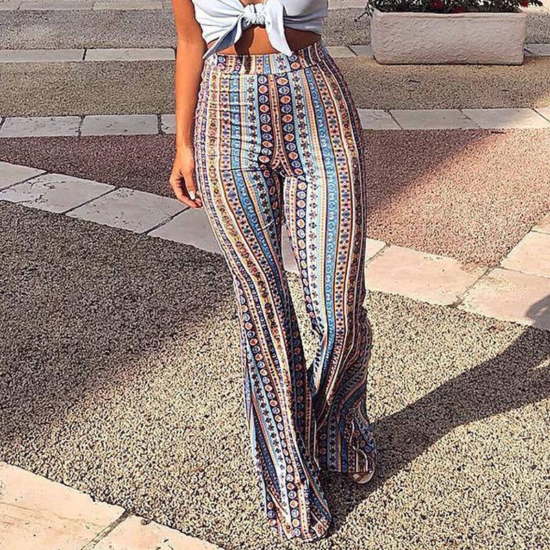 2018 femmes rayé imprimé Nouveau Pantalon Boho Flare haute taille élastique Vintage souple stretch style ethnique Pantalon de Bell Bottom Hippie V191019