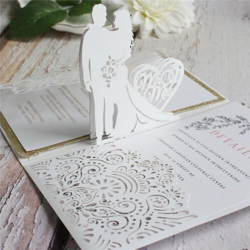 love pop up wedding invitation cards laser cut marriage