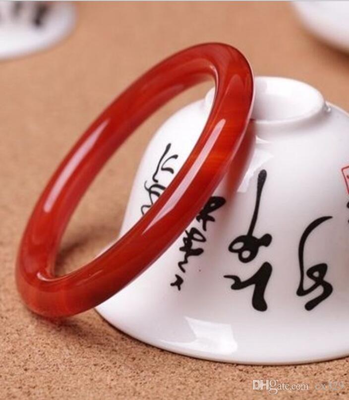 Bracelet jade calcédoine agate rouge naturel section féminine fine bande ronde bracelet de jade rouge chinois usine de gros jade