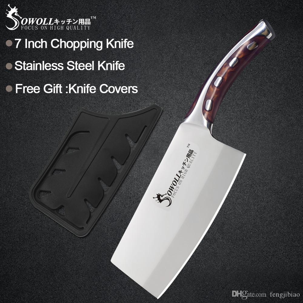 Sowoll سكين مطبخ 7 بوصة اليابانية سكين الشيف غير زلة الراتنج الألياف التعامل مع الجودة الفولاذ المقاوم للصدأ ذكي القاطع تقطيع سكين