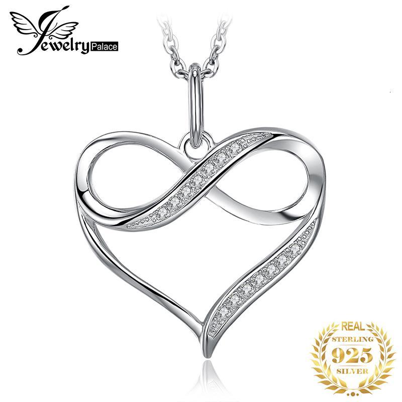 Инфинити Love Heart серебро ожерелье 925 стерлингового серебра Choker себе ожерелье Женщины Серебро 925 ювелирных изделий WithoutChain V191213