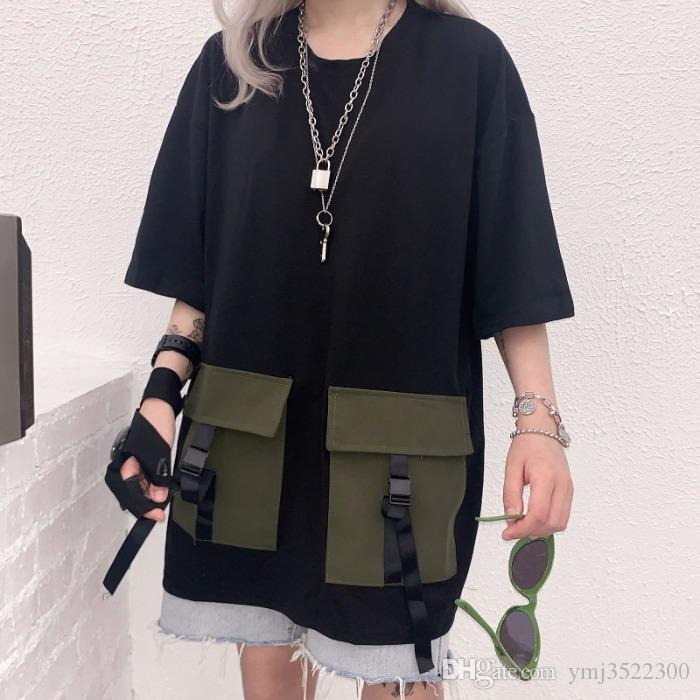 Chao hembra versión coreana original BF calle del viento Retro-Vintage herramientas bolsillo media manga holgada camiseta de la camiseta