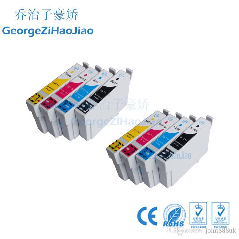 ZH 8 Paketleri Mürekkep Kartuşları T0711 T0712 T0713 T0714 Epson D78 D92 için Uyumlu D120 DX4000 DX4050 DX4400 Yazıcı