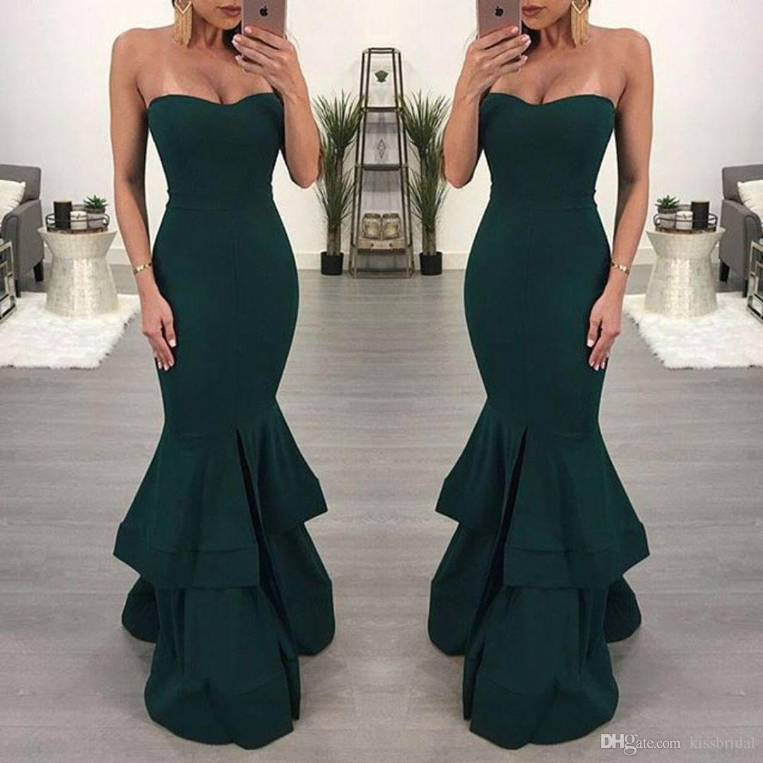Mermaid Evening Dresses Long Cheap Dark Green Strapless Prom Dress Cocktail Party Formal Gowns vestidos de noche largos elegante