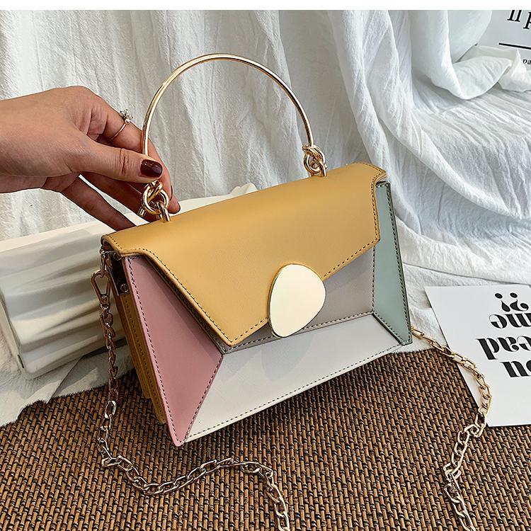 Contrasto di colore di pelle Borse Crossbody per le donne 2019 Viaggi borsa della spalla di modo semplice del messaggero delle signore di sacchetto Croce Body Bag T190920