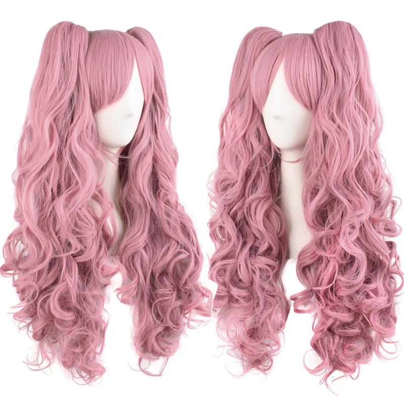 """28"""" Long Wavy Cosplay Wigs Pink Black Brown Blue White 19 Color 2 Ponytails Shape Claw Heat Resistant Synthetic Hair"""