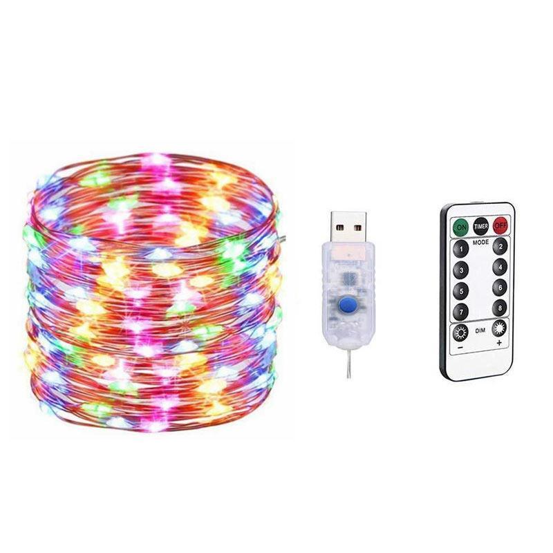 BRELONG 10 메터 100LED 5 메터 50LED 구리 와이어 원격 제어 체인 빛 8 기능 방수 휴일 라이트 체인