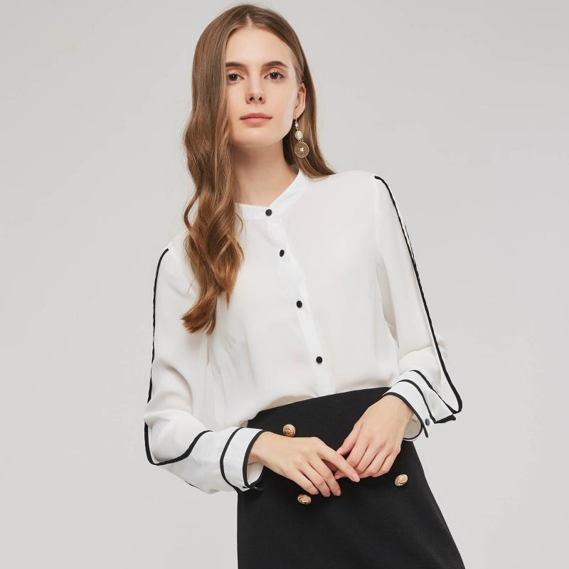 Otoño Las mujeres top de la blusa del botón del collar del soporte de la manera simple ocasional delgada básica Blanco Chiffion de la oficina de señora camiseta remata la blusa