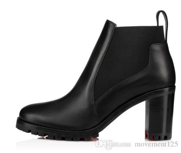 Şık Lug Sole Kadın Boots Yüksek Topuklar Chunky Kış Kırmızı Alt Marchacroche Bilek Boots Kadınlar Ganimet Ünlü Kızıl Sole Patik ile Kutusu