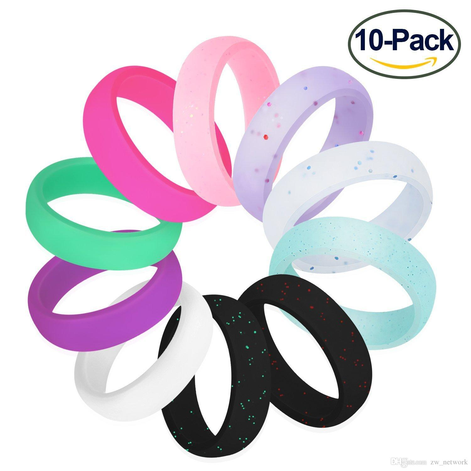 10pcs/pack Glitter Silicone Round Ring for men women Couples wedding bands Candy Colors Silicone Rubber rings HOT Sale
