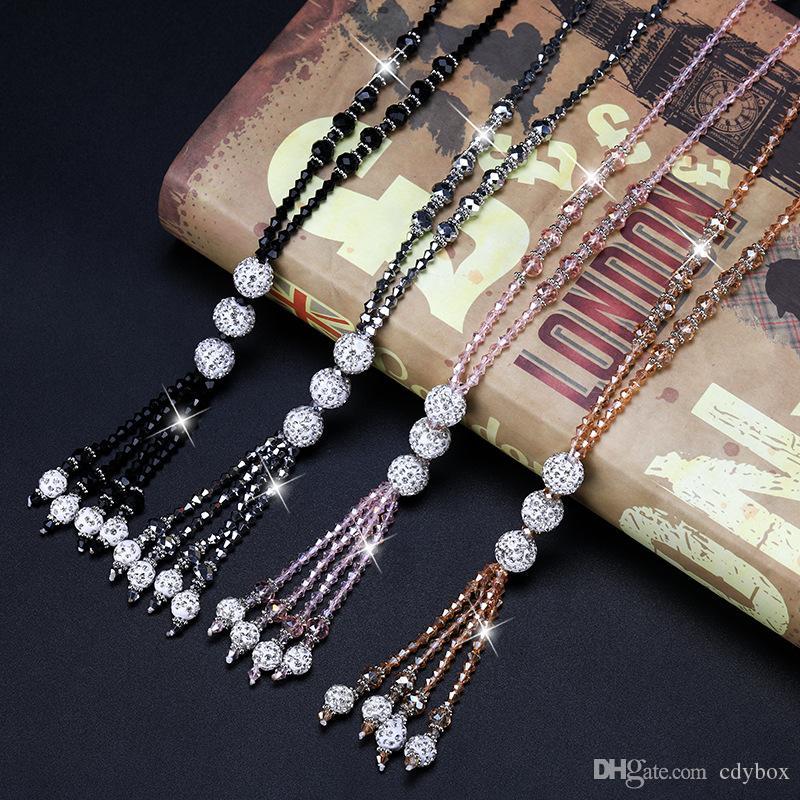 Мода блестящий кристалл бисер длинное ожерелье Простой Joker кисточкой Strand цепь свитера женщин отдыха Ювелирные 4 цвета