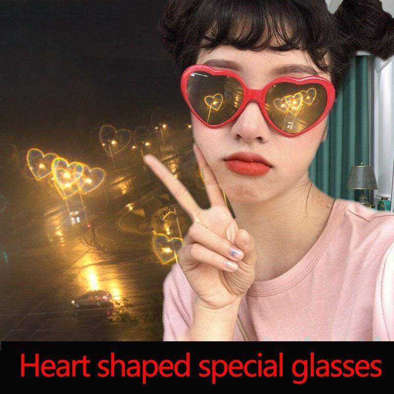 Effets spéciaux Lunettes drôle effets spéciaux en forme de coeur Lunettes de coeur rouge cadre en forme de meilleur cadeau pour Filles Garçons