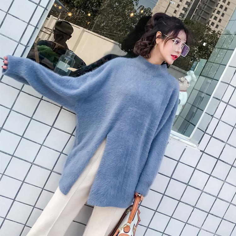 chandail coréen occasionnels doux automne hiver 2019 pullovers velours fendu boutonnage à manches longues Pull femmes pull en tricot Y200116 femme