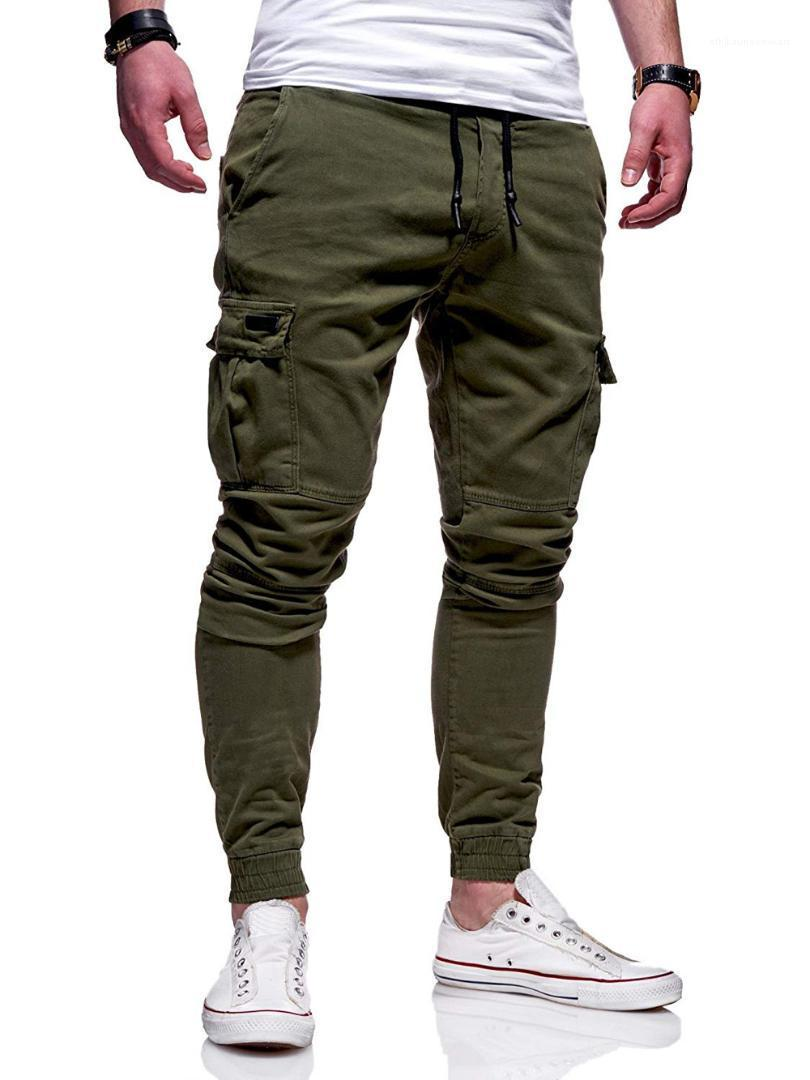 Pantaloni di sport maschio pantaloni skinny Fitness Uomo coulisse Pantaloni Moda Abbigliamento Running causale righe Cargo