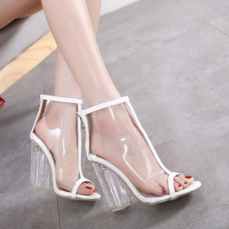 Hot Sale Ladies High Heel Shoes Jelly Transparent Boots Sexy Clear Heels Peep Toe Ankle Boot Thick Crystal Heel Women's Shoes