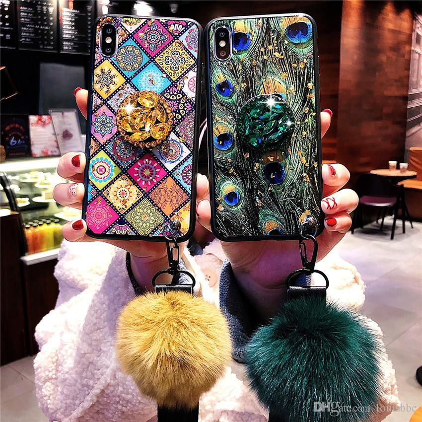 Hot Fashion Epoxy gold foil phone case For iPhone 6 6S 7 8 Plus X XR Xs Max case shiny Diamond Bracket hair ball lanyard marbled Soft cover