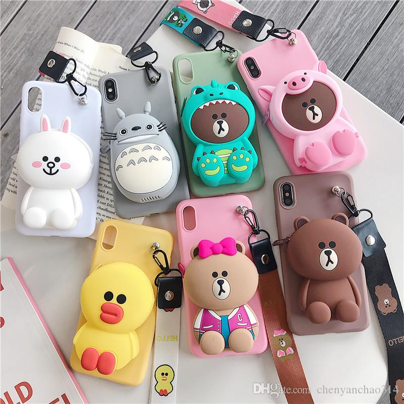 3D Cute Cartoon Wallet Phone Case Lovely Rabbit Bear Totoro For iPhoneX XS MAX XR 6 6s 7 8 Plus Soft Silicone Cover with Lanyard
