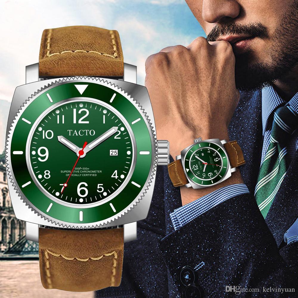 2019 Luxury Brand TACTO reginald montres de sport Montre Homme Quartz en acier avec bracelet en cuir lumineux Gmt montre militaire 50m étanche