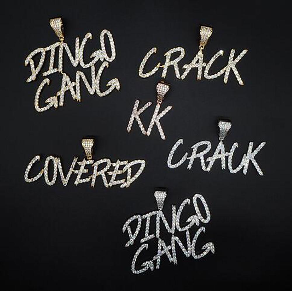Regalos Collar conocido de encargo A- Z Cursive Letras colgante para Hombres Mujeres circonio cúbico collar de Hip Hop joyería