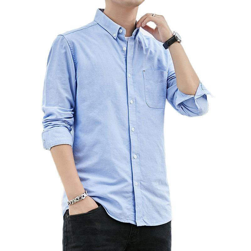 Purified cotton men shirt long sleeve oxford Dress shirt men solid color smart casual slim fit chemise dropshipping