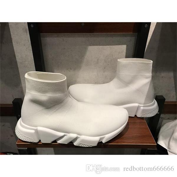 NEW дизайнер обуви Speed носок кроссовки Stretch Mesh High Top Boots для женщин людей черный белый красный глиттер Runner Плоский Прохождения US4.5-12