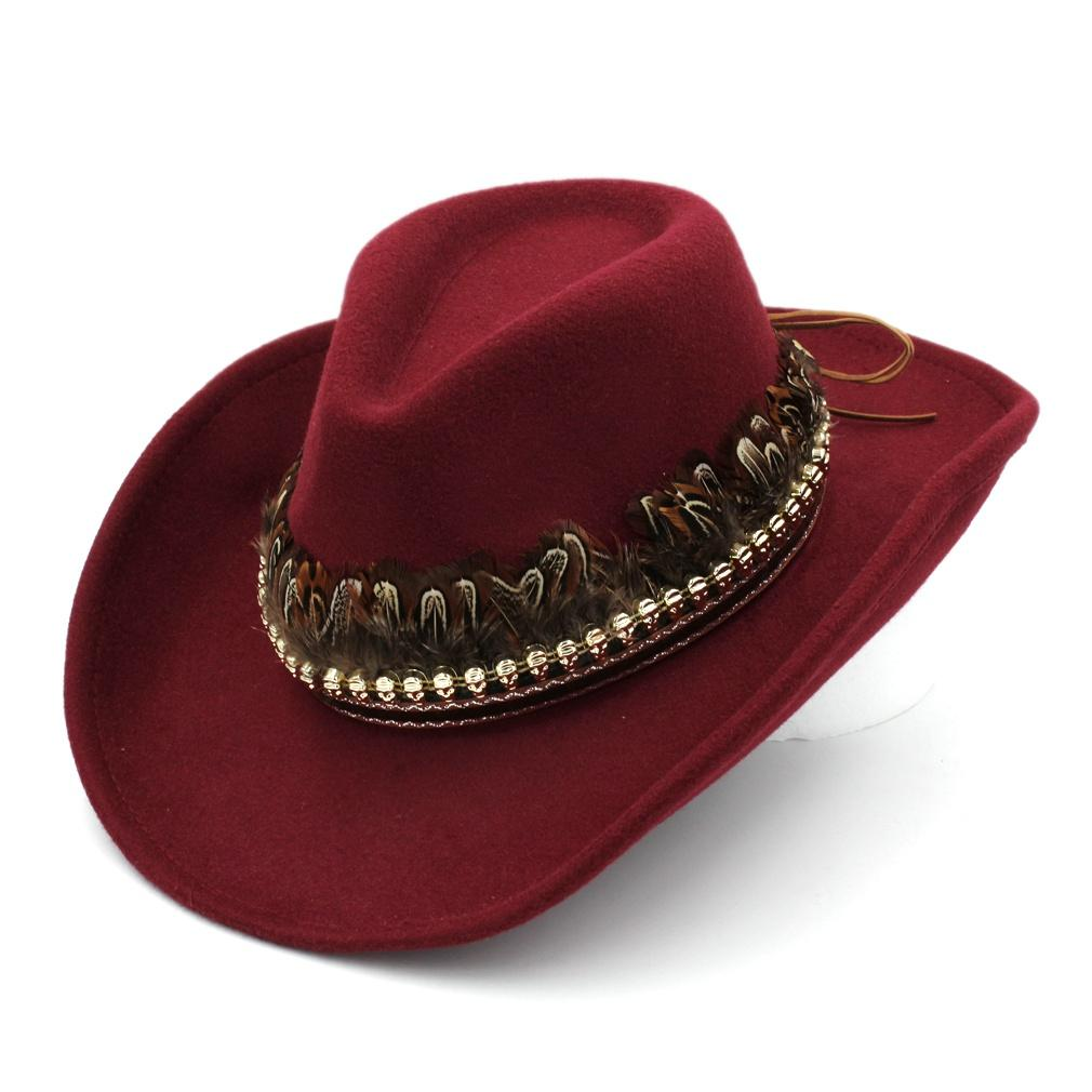 Vente chaude unisexe Printemps Outdoor Street Party Western Beach cow-boy Top Hat large Upturn Roll-up Brim Panama Cap Taille 56-58cm