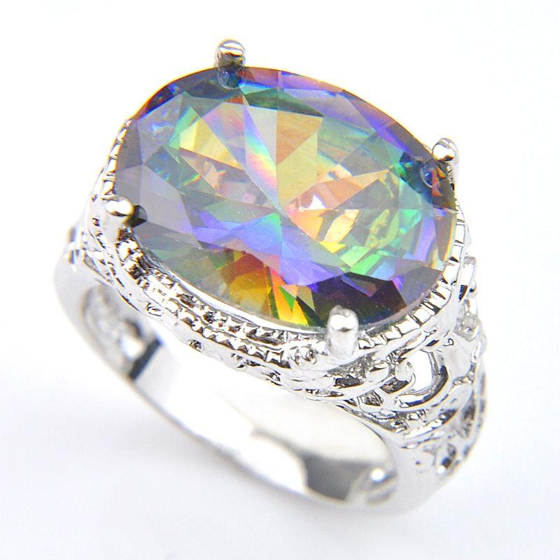 10 st Luckyshine Oval Glänsande regnbåge Natural Mystic Topaz Gems 925 Sterling Silver Plated Woman Män Party Ringar Smycken 16 * 12 mm