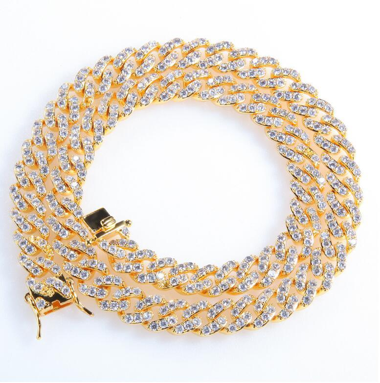 8mm Iced Out Cuban Necklace Chain Hip hop Jewelry Choker Gold Silver Color CZ Clasp for Men's Rapper Necklaces