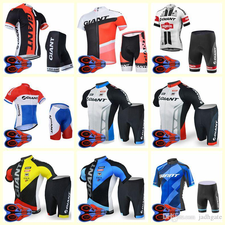 GIANT team Cycling Short Sleeves jersey shorts sets New Men Breathable 3D Gel Pad Mountain Bicycle clothing U82013