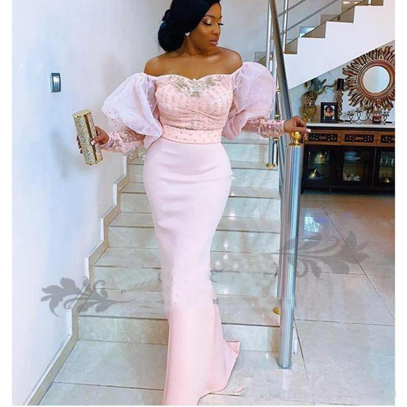 2020 Новый Нигерийские шнурка с длинным рукавом Вечерние платья с плеча Puff рукава Африканский арабский Формальное знаменитости Пром платья 792