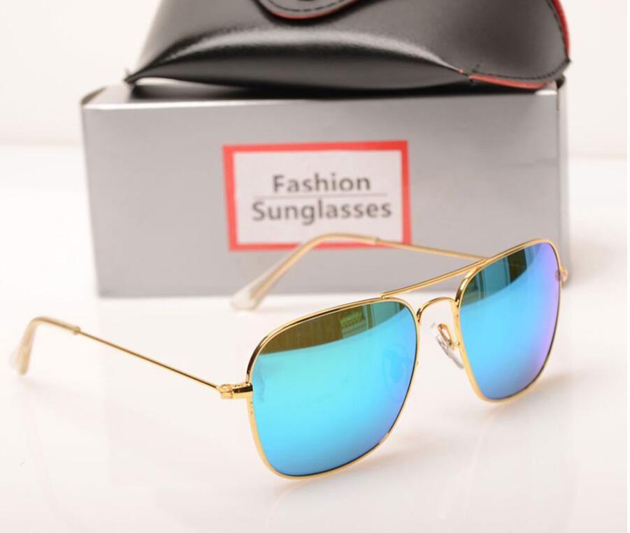 10PCS New mens sunglasses glass lens Brand Designer sun glasses Color lens Mirror sunglasses womens glasses ray design sun glasses with case