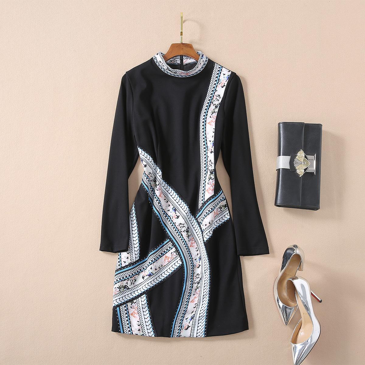 Paskalya moda satış yaz Uzun Kasetli Fermuar seksi Parti Elbise yazdır kollu toptan pist yeni sıcak Ekip boyun ins