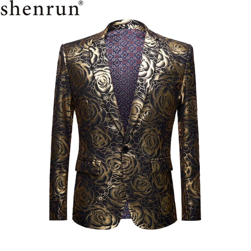 SHENRUN Brand Plus Size Coat Mens Casual Blazers Homme Designs Slim Fit Fashion Gold Rose Pattern Suit Jacket DJ Singers Costume