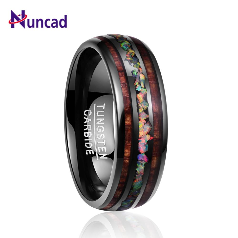 NUNCAD Men's Women's Ring Tungsten Carbide Ring Opal Hawaii Koa Wood Komaru Width 8mm Color Rainbow Tungsten Steel Ring hot sel MX200528