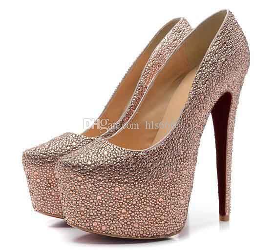 Klasik Özel Teklif Kırmızı Alt Sandalet Daffodile Strass Kadınlar Kırmızı Taban 160mm Champagne Seksi Topuklar Düğün Ayakkabıları ile pompaları
