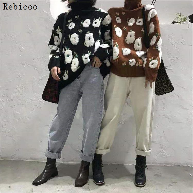 Шаблон большого размера вязание свитера Сыпучие Fit Водолазка с длинным рукавом Женщины Пуловеры Новая мода Tide весна Rebicoo