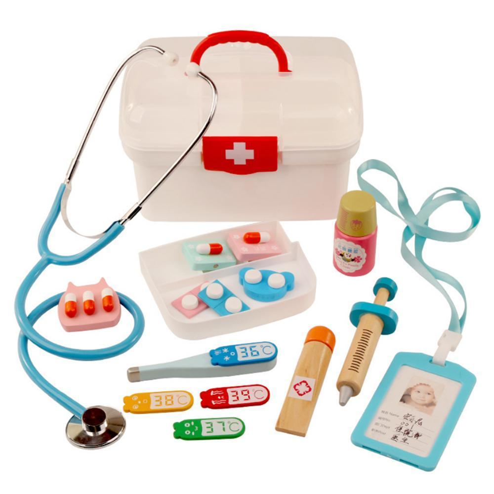 16Pcs Children Pretend Play Doctor Toys Kids Wooden Medical Kit Simulation Medicine Chest Set for Kids Interest Development Kits CX200605