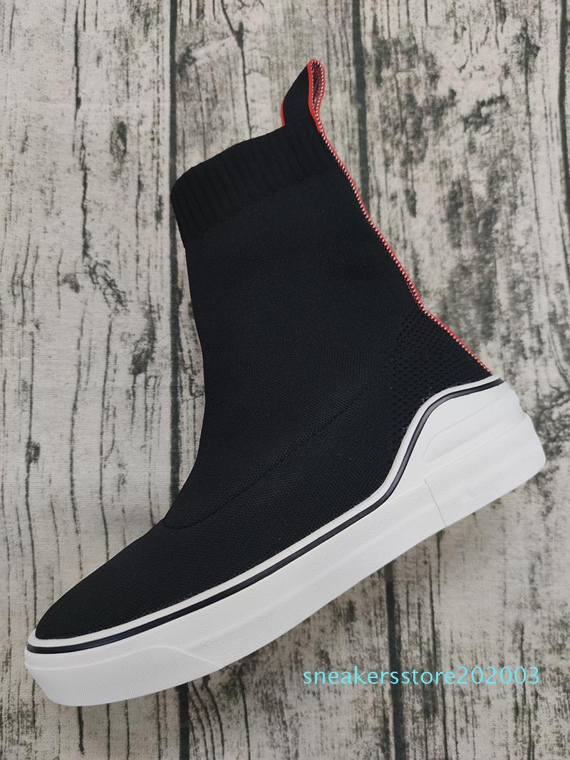 progettista di lusso a buon mercato scarpe da ginnastica nere strisce di moda fondo piatto calze spesse stivali scarpe casual S03