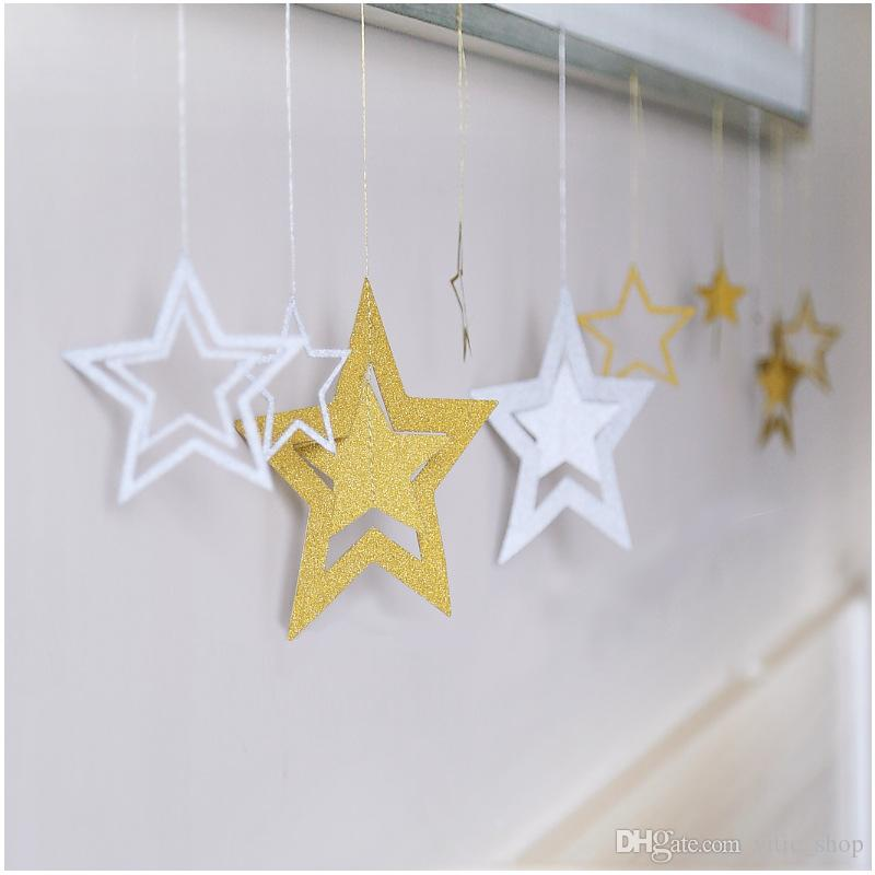 7PCS Hollowed Star Shape Hanging Decoration for wall Festival Christmas Birthday Party Wedding Hanging Ornaments QZ01