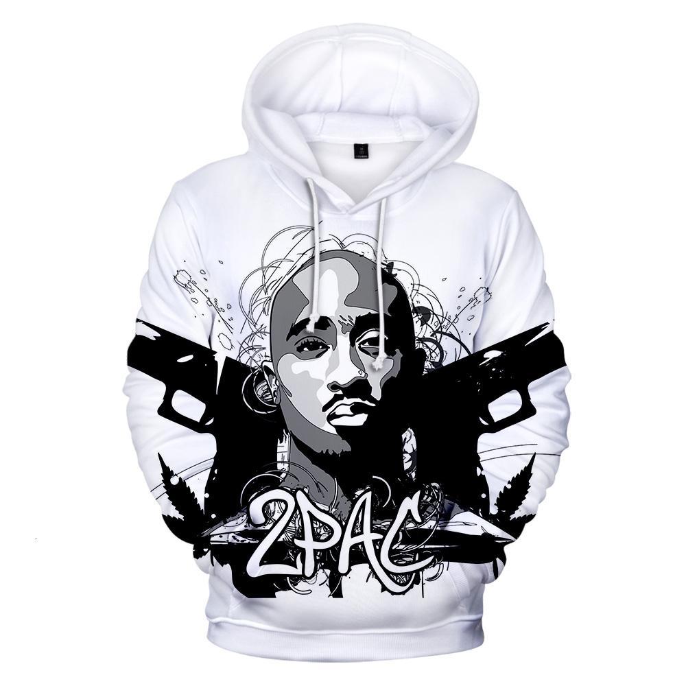 Hip Hop Gangsta Rap 2Pac Hoodies Mens Hoodie da camisola dos homens / mulheres 2Pac Tupac alta qualidade com capuz Polluver Inverno Cap Roupa Y191111