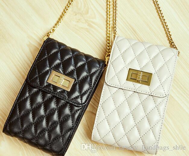 Cep telefonu çantası kadın yeni koyun derisi moda kişilik omuz asılmış elmas zincir çanta deri mini çanta