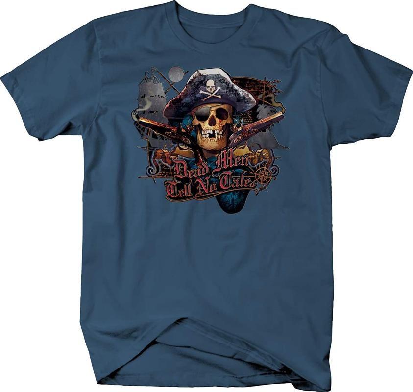 Pirate Skull Dead Men Tell No Tales Compass Ship Map Tshirt